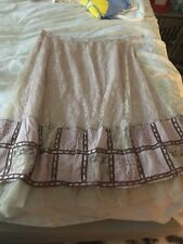 NWOT THE PYRAMID COLLECTION Purple/Berry/PINK CROCHET BOHO Peasant LACE SKIRT