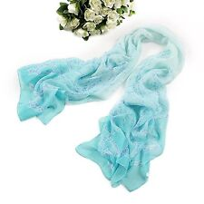 Long Silk Chiffon Scarf Light Blue Theme SCH042