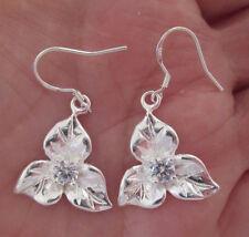 Three Petal Flower Silver Earrings
