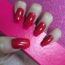 Full Cover Hand Painted False Nails. Square High Gloss Red. Set Of 24 Nails.