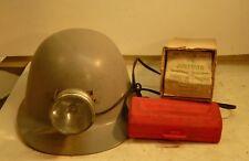 JUSTRITE PATENTED BATTERY-POWERED HEADLIGHT LANTERN ORIGINAL BOX & GRAY HARD HAT
