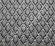 CNC Stitched Large Panel Double Diamond Design Ebony / Black Faux Leather Vinyl