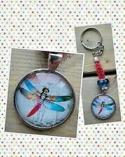 Bright dragonfly keychain glass dome pendant thread crochet handmade new