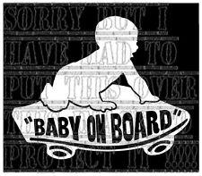 BABY ON BOARD Vans Skate Board Skater Patinage Decal Autocollant Vinyle Signe Garçon Blanc