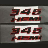 2x OEM Red 345 HEMI Emblems 345Hemi 3D Badge for Dodge Challenger RAM Red Fram F