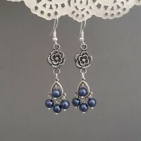 Long dark blue chandelier earrings cute flower 925 sterling silver hooks tibetan