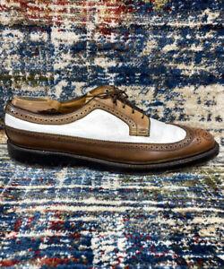 FLORSHEIM Imperial Golden Harvest 93631 V-Cleat Two-Tone Wingtip Shoes Sz 11 B