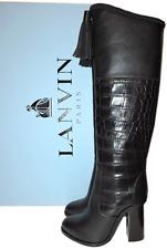 $1985 Lanvin Runway Black Croco Leather Over Knee Boots Tassels Booties 36- 5.5