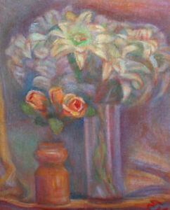 Vintage Post impressionist oil painting still life flowers signed