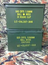 Lot of 2 US Military Metal Ammunition Ammo Can Box  5.56mm  NATO M855 M2a1