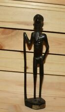 Vintage African hand carving wood tribal figurine old man with cane