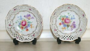 Two Schumann Dresden Lace, floral dishes . Dia: 13 cm, Excellent Condition.