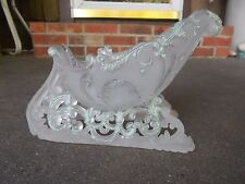 Clear Hard Plastic CHRISTMAS SLEIGH w Iridescent Trim