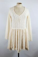 Intimately Free People Ivory Sheer Lace Long Sleeve Mini Dress SZ S