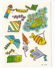 Vintage Paper Art Giggle Sticker Sheet - Kites Fish Bird Kite Sky