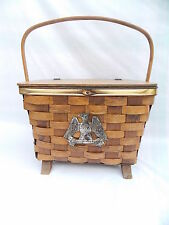 Vintage Woven Wood Basket with Feet and Eagle w Arrows Storage Picnic