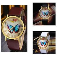 ASAMO Damen Schmetterling Armbanduhr mit Kunstleder Armband Analog Quarz AMA053