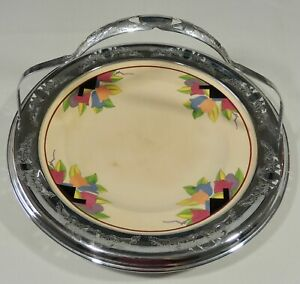 1940's Art Deco Tulip Plate Chrome Trim Umbertone Farberware Leigh Potters EUC