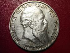 BADEN 5 Mark 1907 Silber VZ Tod von Grosherzog Friedrich - JÄGER 37