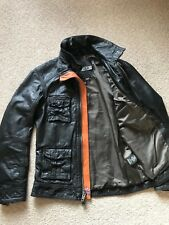 SUPERDRY 'Falcon' LEATHER BIKER JACKET Black Size Small Perfect CONDITION