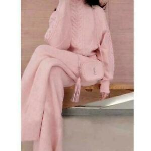 2PCS Suits Women's Wool Blend Sweater Knitted Casual Wide Legged Pant Korean Hot
