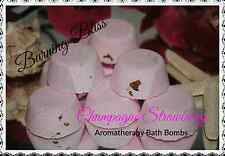 CHAMPAGNE STRAWBERRY Aromatherapy Bath Bombs,Coconut Oil BULK BUY X 50