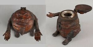 Antique 1890s Painted Cast Iron J & E Stevens Man in Barrel Figural Inkwell NR