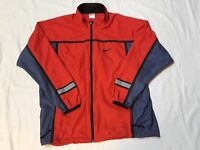 Vintage Nike Red Windbreaker Jacket size Large 90s VTG 3M Color Block