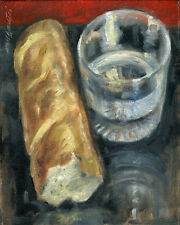 Bread and Water Still life 10x8 in. Oil on canvas Hall Groat Sr.