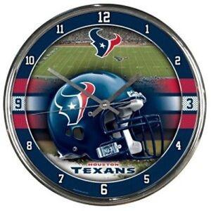 Houston Texans NFL 12' Round Chrome Battery Wall Clock