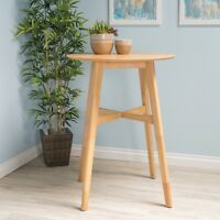 Madeline Mid-Century Modern Circular Wood Bar Table with Tapered Legs