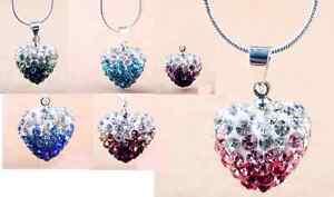 Purple, Pink,Dark  Blue, Green & Turquoise Diamante Shambala Heart Pendant
