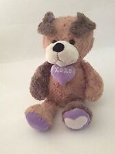"ANIMAL ADVENTURE brown purple XOXO PUPPY DOG 18"" large Valentines Day plush"