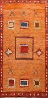 Thick-Plush Geometric Orange Moroccan Oriental Area Rug Hand-knotted Wool 6x9 ft
