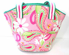 Lilly Pulitzer Purse Bucket Tote Paisley Floral Print Pink Seafoam Green