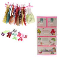 12 Pieces Dress + 12 Pairs Shoes + Wardrobe for Dolls Accessories
