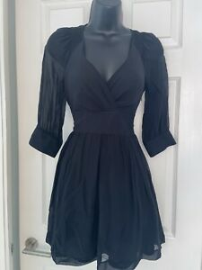 Armani Exchange Black 💯 Silk Party Cocktail V Neck Mini Dress Size 6-8