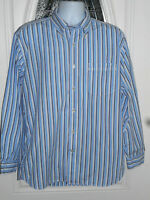 Tommy Hilfiger Men's Large Long Sleeve Button Down Shirt Blue & White Striped