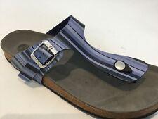 Biostep Comfort Culture Thong Sandals Flats Blue Stripe Buckle Uk8/42 Smart Cas