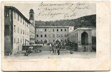 1910 Livorno Piazza Montenero Gradinata Visitatori Torre Palazzi FP B/N VG ANIM