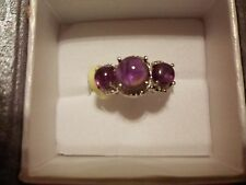Amethyst 3-Stone Ring in Platinum Overlay-Size 7-3.80 Carats