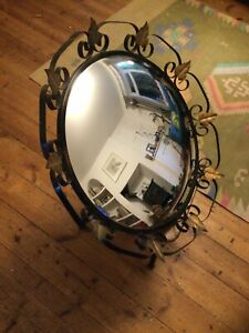 Convex Mirror Brass Leaf Design