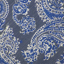 BRIONI Blue Navy White PAISLEY Handmade Silk Linen Blend Tie Italy NWT