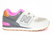 NEW BALANCE KV574NHY Sneakers Bambina Strappi Grigio Fuxia Bianco Camoscio Mesh