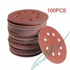 100x 125MM 8 Hole SANDING DISC 40 60 80 120 240 GRIT ORBITAL PAPER SANDING SHEET