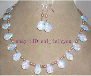 6-7mm Pink Rice Pearl & 10x14mm White Moonstone Drop Beads Necklace Earrings Set
