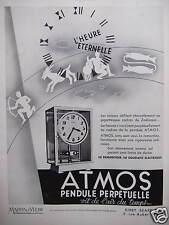 PUBLICITÉ 1934 PENDULE PERPÉTUELLE ATMOS VIT DE L'AIR DU TEMPS- MAPPIN & WEBB