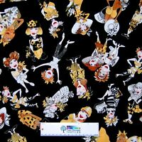 Bee Happy Fabric - Woman Character Toss Black Yellow - Loralie Designs YARD