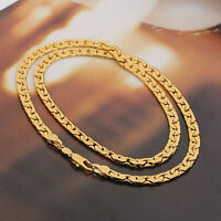 Mens Jewellery 24 k Gold Plated Necklace Unisex Chain for Men Width 4 mm N244