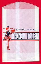 1950 French Fries Bag Waitress Graphics Old Store Stock